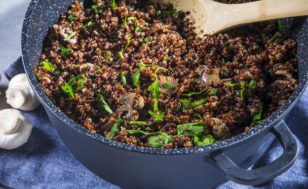 תבשיל קינואה אדומה ופטריות (צילום: אפיק גבאי, מתכון לחיסכון)