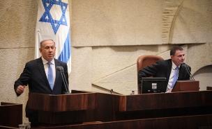 בנימין נתניהו בהשבעת הכנסת (צילום: Isaac Harari  / Flash 90)
