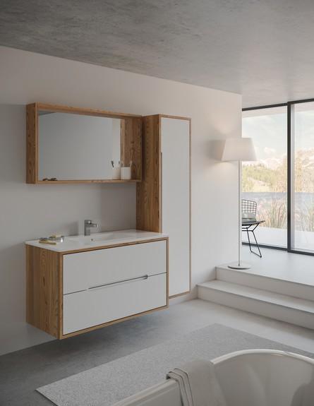 שילוב עץ וצבע לבן למראה מודרני בקולקציה של חרסה מבית חמת (צילום: יחסי ציבור)