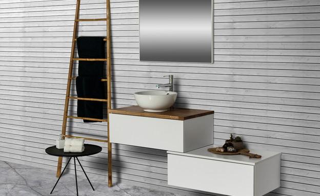 ארונות אמבטיה - יחידות מודולריות של באטיו למראה מקורי (צילום: עודד סמדר)