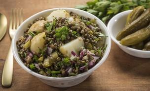 סלט תפוחי אדמה ועדשים (צילום: אפיק גבאי, מתכון לחיסכון)