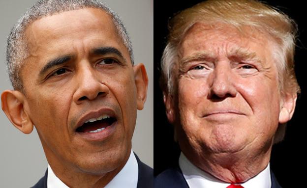 """""""היעדר הנהגה אמריקנית"""". אובמה וטראמפ (צילום: רויטרס)"""