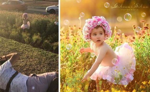 תינוק תלוי צילומי משפחה סילבה (צילום: אינסטגרם)