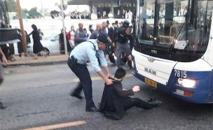 ההפגנות בבני ברק, היום (צילום: דוברות המשטרה)