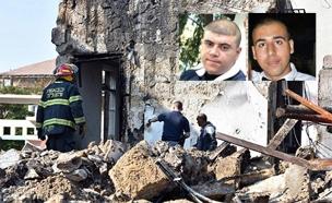 שני ההרוגים וזירת הפיצוץ (צילום: דוברות המשטרה)