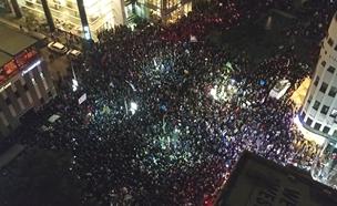 """שידור ישיר מההפגנה בת""""א (צילום: החדשות)"""