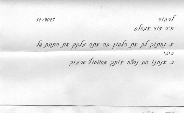 מכתב איום שקיבל חבר הכנסת