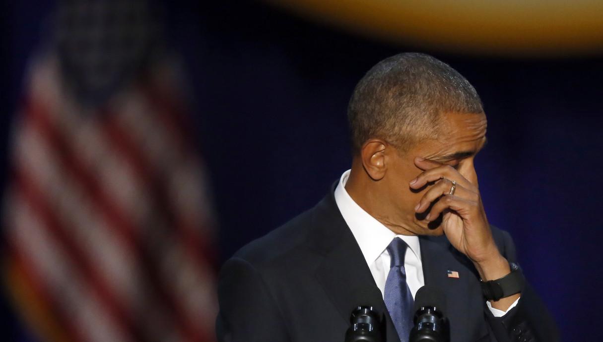 אובמה בוכה בנאום פרידה 10.1