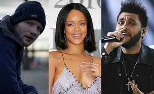 אד שירן, ריהאנה, דה וויקנד (צילום: getty images, יוטיוב)