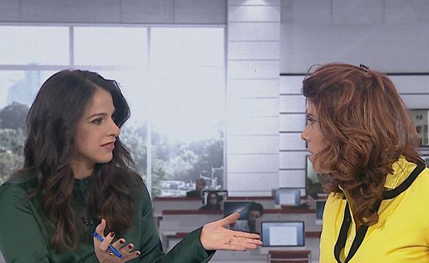 """העימות בין ג'ודי ונסלי ברדה (צילום: מתוך """"חדשות הבוקר"""" , קשת 12)"""