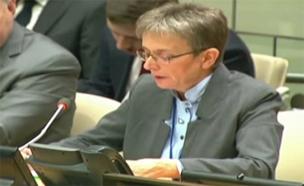"""צפו בלאה גולדין לפני הדיון המיוחד (צילום: האו""""ם)"""