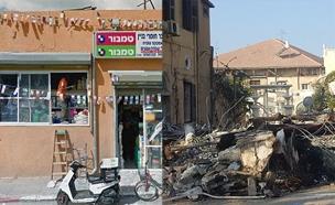 החנות ביפו, לפני ואחרי השריפה (צילום: החדשות, גוגל מפות)