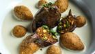 טחול ממולא עם קובה ברוטב יוגורט (צילום: אמיר מנחם, מאסטר שף)
