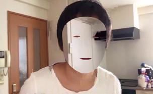 אייפון X מעלים פנים (צילום: קאזויה נושירו, טוויטר)