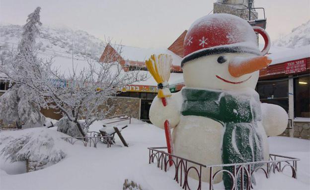 שלג באתר החרמון (צילום: חדשות 2)