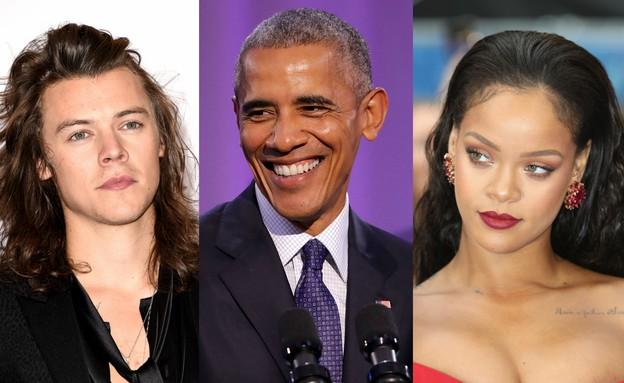 ברק אובמה, ריהאנה, הארי סטיילס (צילום: getty images)