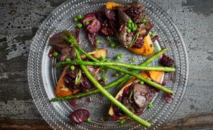 ברוסקטת כבדי עוף, יין ואספרגוס (צילום: אמיר מנחם, אוכל טוב)