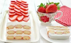 עוגת תותים ללא אפייה (צילום: ענבל לביא, אוכל טוב)