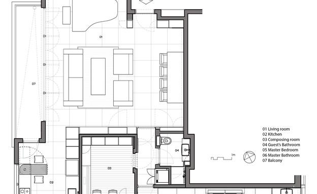 בית הפסנתרן, תוכנית אדריכלית, שרטוט סטודיו XS (7) (שרטוט: Amit Gosher)