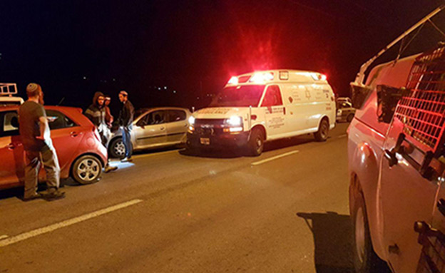 """זירת הפיגוע בחוות גלעד (צילום: מד""""א)"""