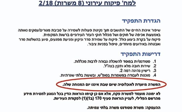 מודעת הדרושים באתר עיריית אשדוד