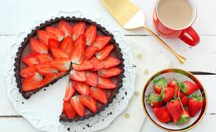 טארט קרם שוקולד ותותים ללא אפייה (צילום: ענבל לביא, אוכל טוב)