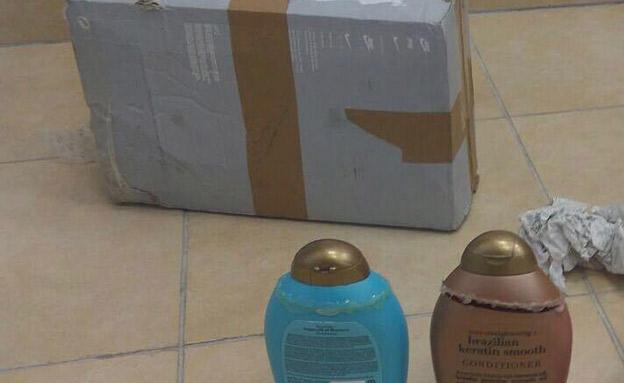 בקבוקי השמפו שהכילו קוקאין (צילום: דוברות המשטרה)