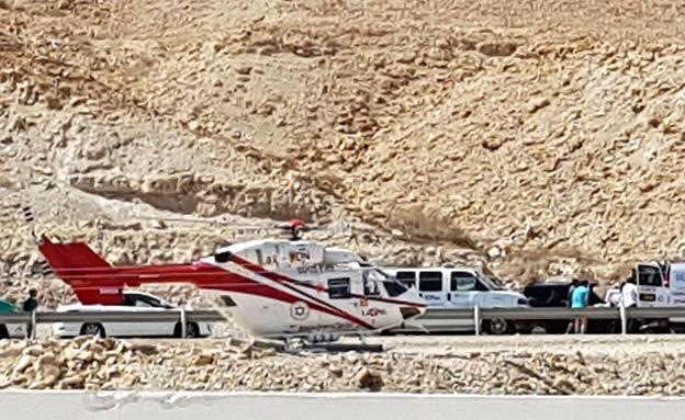 מסוקים הוזנקו לסייע בפינוי הפצועים (צילום: כבאות והצלה נגב)