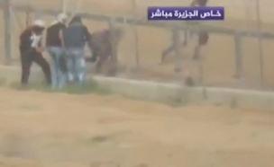 עזתים שחדרו לשטח ישראל (צילום: רשת אלג'זירה)
