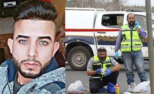 המחבל על רקע זירת הרצח (צילום: הלל מאיר/TPS)