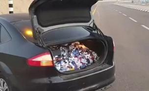 שדדו סיגריות והתנגשו בניידת (צילום: דוברות המשטרה)