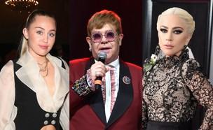 ליידי גאגא, אלטון ג'ון, מיילי סיירוס (צילום: getty images)