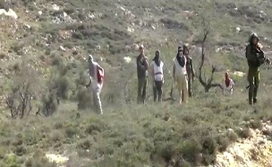 מתנחלים משליכים אבנים על פלסטינים בגדה, ארכיון (צילום: יש דין)
