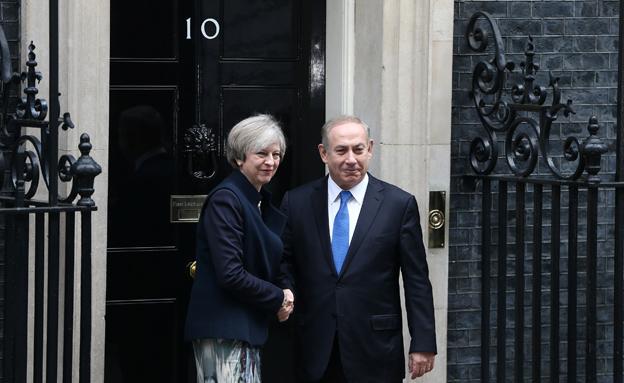 נתניהו ומיי בפגישתם בלונדון (צילום: רויטרס)