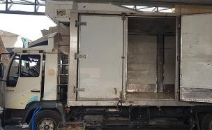 המשאית שנתפסה במעבר ריחן (צילום: רשות המעברים משרד הביטחון)