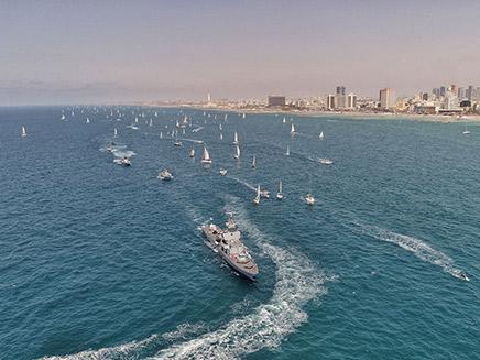 משט הצדעה של לחיל הים לחגיגות ה-70 (צילום: החברה לפיתוח התיירות בהרצליה)
