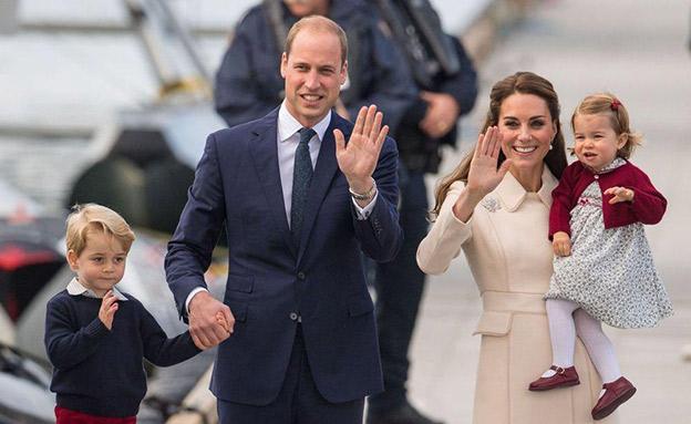 הנסיך ווילאם, קייט מידלטון והילדים (צילום: SKY NEWS)