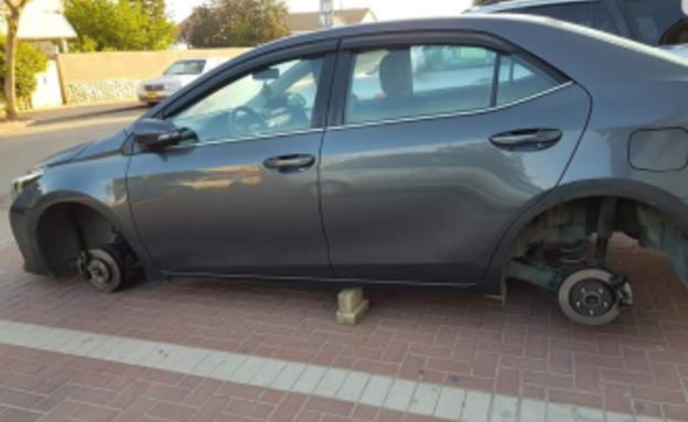 גנבי גלגלים (צילום: פייסבוק\Lidia Gabay)