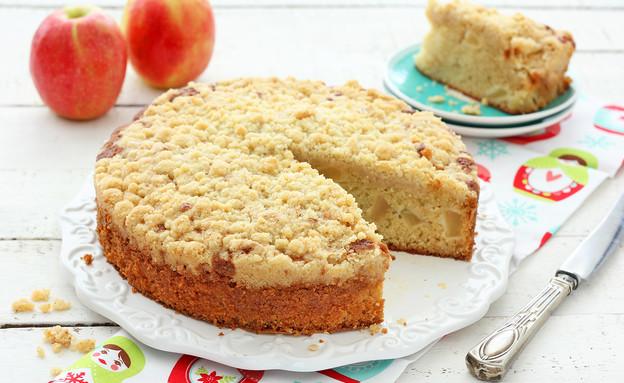 עוגת תפוחים בציפוי פירורים (צילום: ענבל לביא, אוכל טוב)