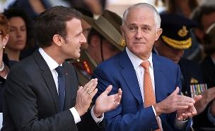 צפו: פליטת הפה של נשיא צרפת (צילום: AP)