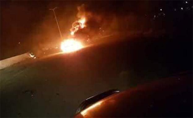 פיצוצים בבסיס אירני בסוריה (צילום: טוויטר)