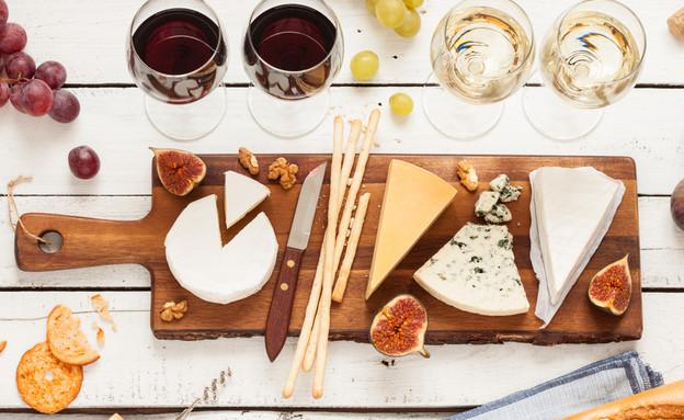 ארוחת גבינות ויין (צילום: shutterstock)