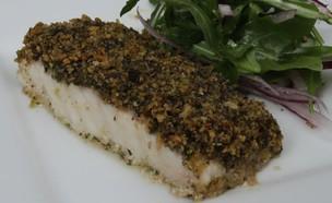 פילה מוסר בתנור בציפוי פירורי לחם שקדים ועשבי תיבו (צילום: ארגון מגדלי הדגים בישראל)