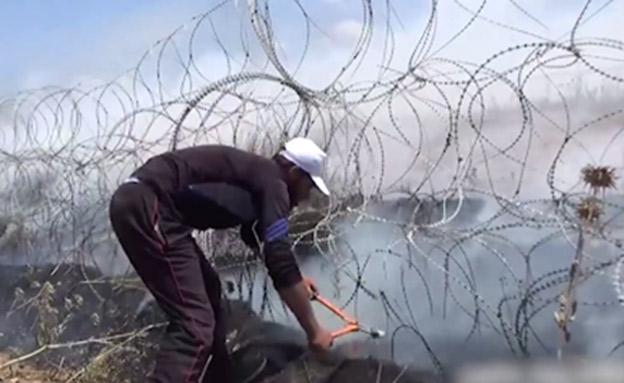 """הפרות הסדר האלימות בגבול רצועת עזה (צילום: דובר צה""""ל)"""