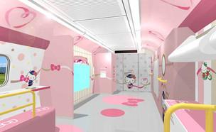 רכבת הלו קיטי (צילום: JR Hello Kitty Shinkansen)