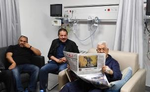 אבו מאזן בבית החולים (צילום: התקשורת הפלסטינית)