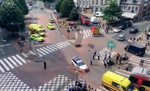 צפו: זירת אירוע הירי בבלגיה, אתמול (צילום: AP)