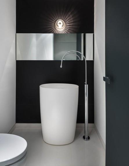 שחור לבן, חדר רחצה, עיצוב מיכל האן (צילום:  עמית גירון)