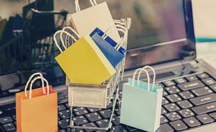 שקיות על עגלת קניות המונחת על מחשב (אילוסטרציה: By Dafna A.meron, shutterstock)
