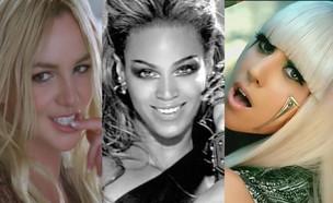 ליידי גאגא, ביונסה, בריטני ספירס (צילום: מעמודי היוטיוב Lady GaGa, Beyonce ו-Britney Spears)